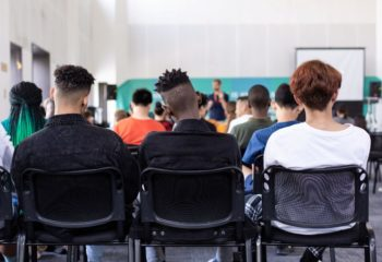 Students during a lesson in a secondary school